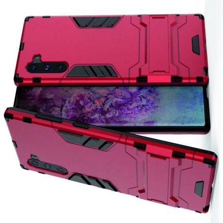 Защитный усиленный гибридный чехол противоударный с подставкой для Samsung Galaxy Note 10 Красный