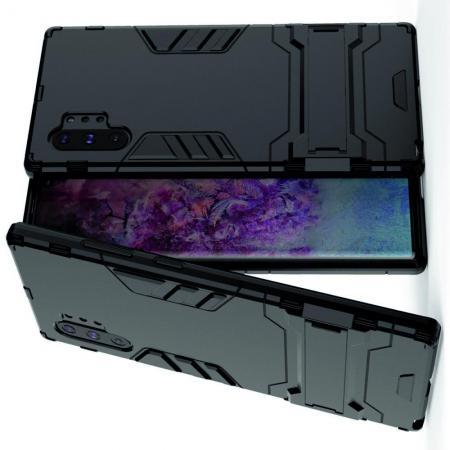 Защитный усиленный гибридный чехол противоударный с подставкой для Samsung Galaxy Note 10 Plus Черный