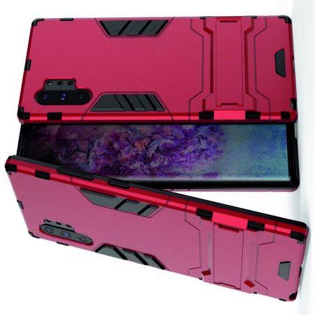 Защитный усиленный гибридный чехол противоударный с подставкой для Samsung Galaxy Note 10 Plus Красный