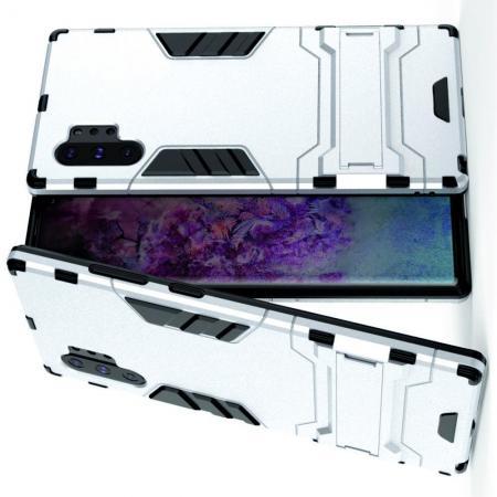 Защитный усиленный гибридный чехол противоударный с подставкой для Samsung Galaxy Note 10 Plus Серебряный
