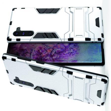 Защитный усиленный гибридный чехол противоударный с подставкой для Samsung Galaxy Note 10 Серебряный