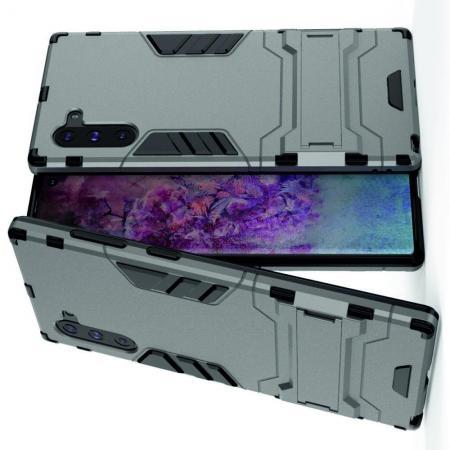 Защитный усиленный гибридный чехол противоударный с подставкой для Samsung Galaxy Note 10 Серый