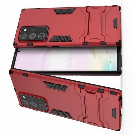 Защитный усиленный гибридный чехол противоударный с подставкой для Samsung Galaxy Note 20 Ultra Красный