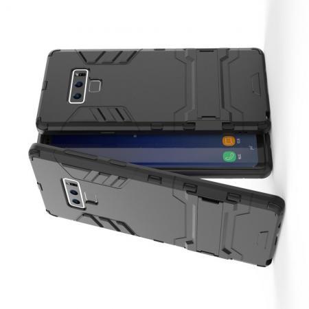 Защитный усиленный гибридный чехол противоударный с подставкой для Samsung Galaxy Note 9 Черный