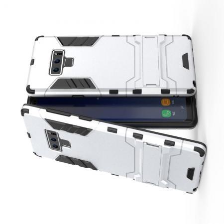 Защитный усиленный гибридный чехол противоударный с подставкой для Samsung Galaxy Note 9 Серебряный