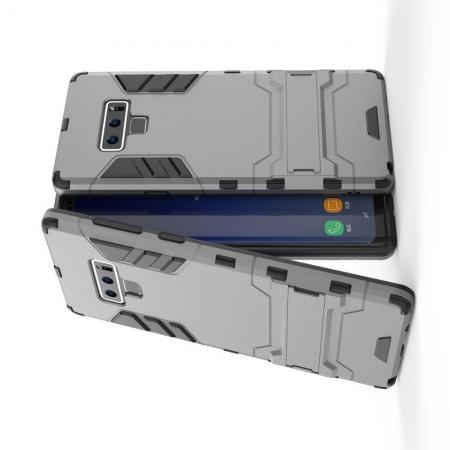 Защитный усиленный гибридный чехол противоударный с подставкой для Samsung Galaxy Note 9 Серый