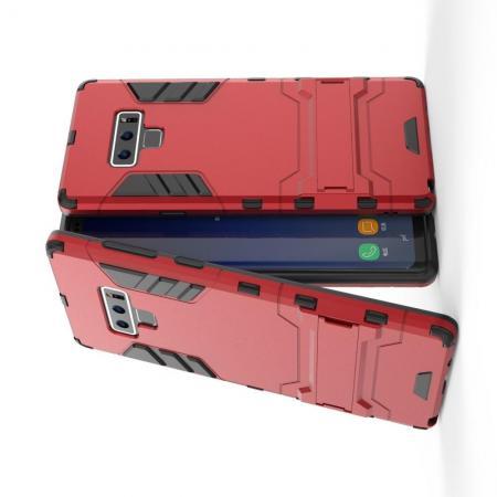 Защитный усиленный гибридный чехол противоударный с подставкой для Samsung Galaxy Note 9 Красный