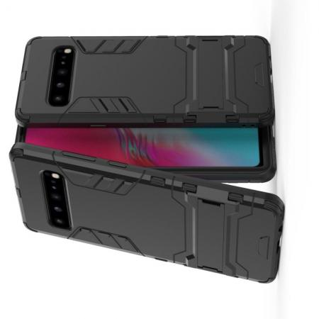 Защитный усиленный гибридный чехол противоударный с подставкой для Samsung Galaxy S10 5G Черный