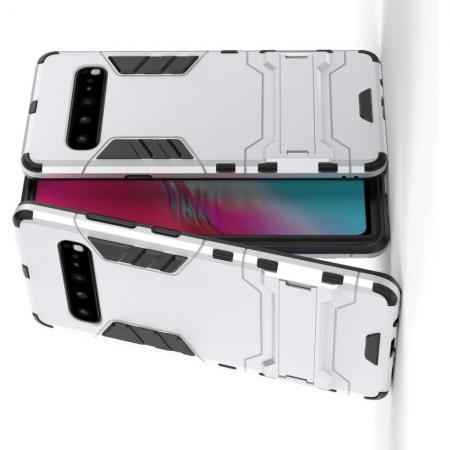 Защитный усиленный гибридный чехол противоударный с подставкой для Samsung Galaxy S10 5G Серебряный