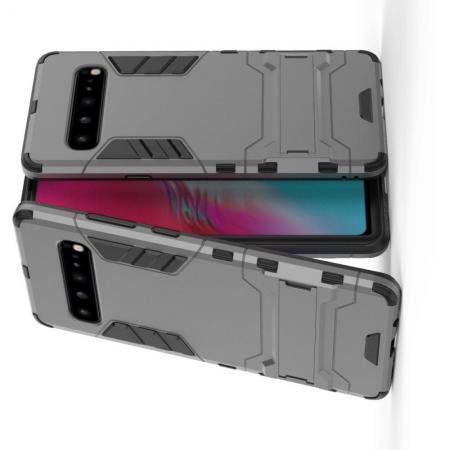 Защитный усиленный гибридный чехол противоударный с подставкой для Samsung Galaxy S10 5G Серый