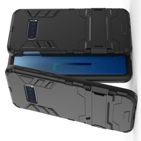 Защитный усиленный гибридный чехол противоударный с подставкой для Samsung Galaxy S10e Черный