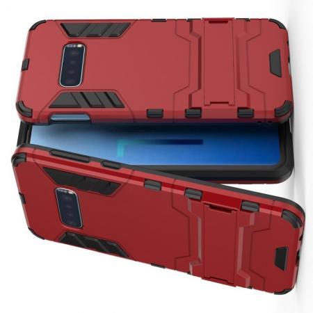 Защитный усиленный гибридный чехол противоударный с подставкой для Samsung Galaxy S10e Красный