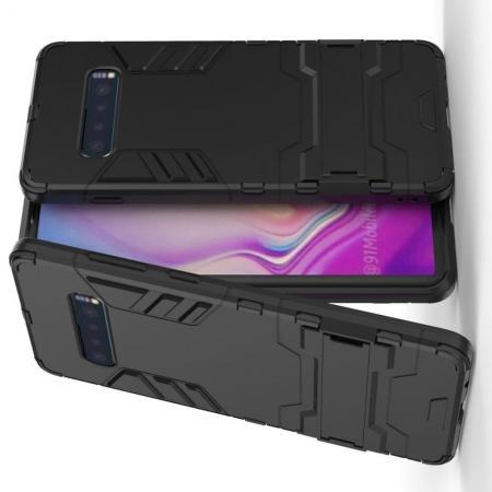 Защитный усиленный гибридный чехол противоударный с подставкой для Samsung Galaxy S10 Plus Черный