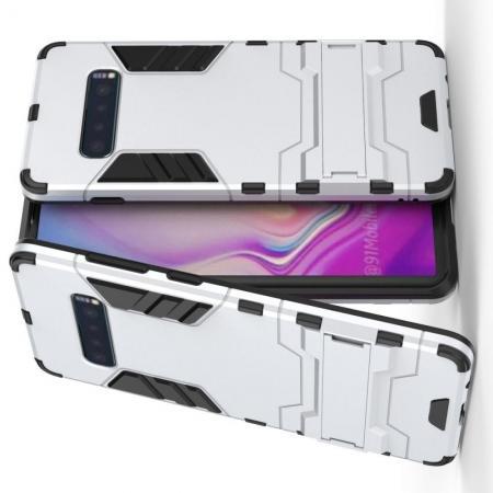 Защитный усиленный гибридный чехол противоударный с подставкой для Samsung Galaxy S10 Plus Серебряный