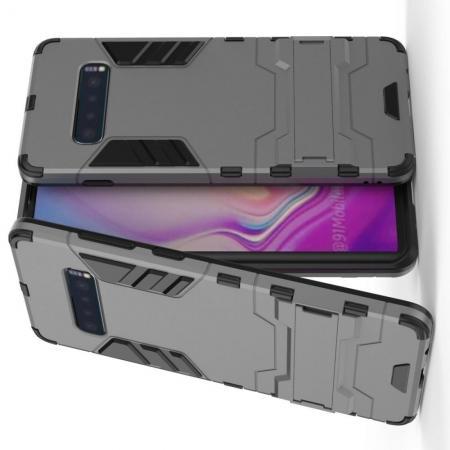 Защитный усиленный гибридный чехол противоударный с подставкой для Samsung Galaxy S10 Plus Серый