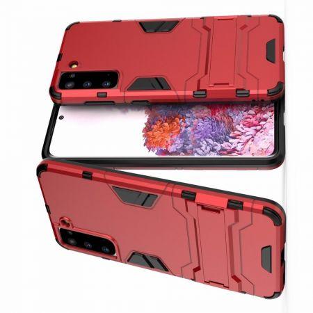 Защитный усиленный гибридный чехол противоударный с подставкой для Samsung Galaxy S21 Красный