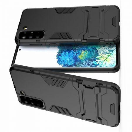 Защитный усиленный гибридный чехол противоударный с подставкой для Samsung Galaxy S21 Plus / S21+ Черный