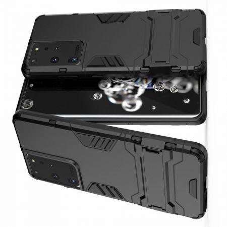 Защитный усиленный гибридный чехол противоударный с подставкой для Samsung Galaxy S21 Ultra Черный
