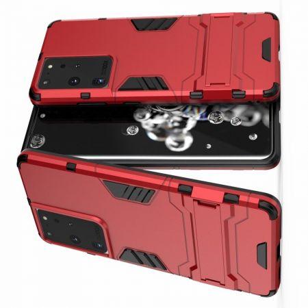 Защитный усиленный гибридный чехол противоударный с подставкой для Samsung Galaxy S21 Ultra Красный