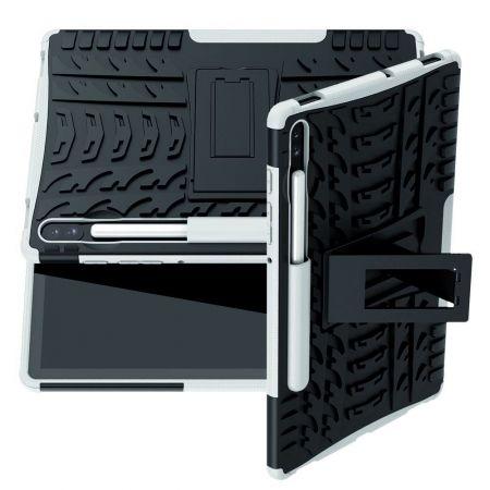 Защитный усиленный гибридный чехол противоударный с подставкой для Samsung Galaxy Tab S6 SM-T865 SM-T860 Белый