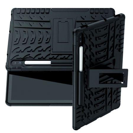 Защитный усиленный гибридный чехол противоударный с подставкой для Samsung Galaxy Tab S6 SM-T865 SM-T860 Черный