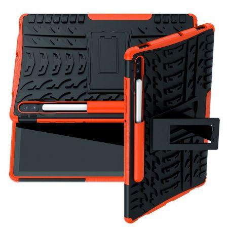 Защитный усиленный гибридный чехол противоударный с подставкой для Samsung Galaxy Tab S6 SM-T865 SM-T860 Оранжевый