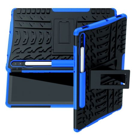 Защитный усиленный гибридный чехол противоударный с подставкой для Samsung Galaxy Tab S6 SM-T865 SM-T860 Синий