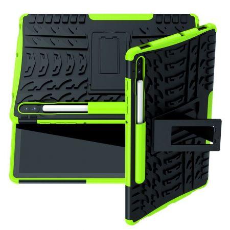 Защитный усиленный гибридный чехол противоударный с подставкой для Samsung Galaxy Tab S6 SM-T865 SM-T860 Зеленый