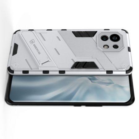 Защитный усиленный гибридный чехол противоударный с подставкой для Xiaomi Mi 11 Белый