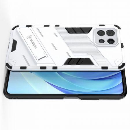Защитный усиленный гибридный чехол противоударный с подставкой для Xiaomi Mi 11 Lite Белый