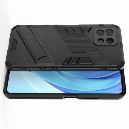 Защитный усиленный гибридный чехол противоударный с подставкой для Xiaomi Mi 11 Lite Черный