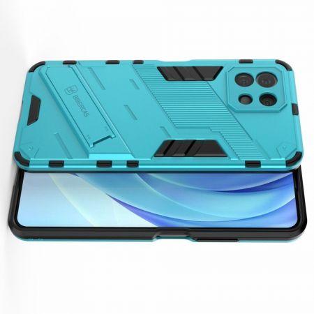 Защитный усиленный гибридный чехол противоударный с подставкой для Xiaomi Mi 11 Lite Голубой