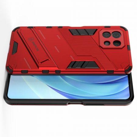 Защитный усиленный гибридный чехол противоударный с подставкой для Xiaomi Mi 11 Lite Красный