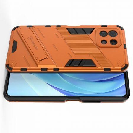 Защитный усиленный гибридный чехол противоударный с подставкой для Xiaomi Mi 11 Lite Оранжевый