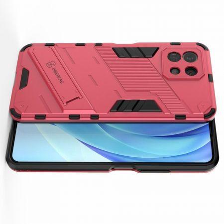 Защитный усиленный гибридный чехол противоударный с подставкой для Xiaomi Mi 11 Lite Розовый