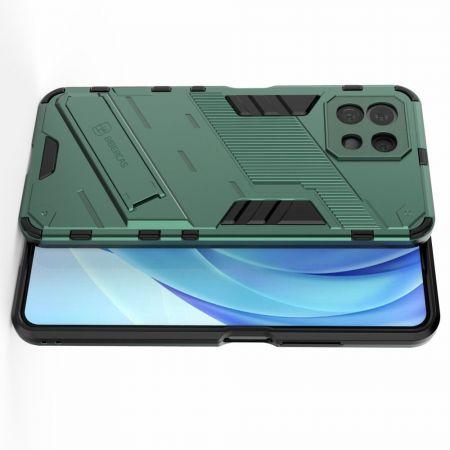 Защитный усиленный гибридный чехол противоударный с подставкой для Xiaomi Mi 11 Lite Зеленый