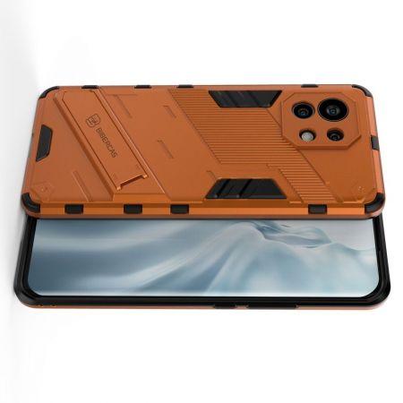 Защитный усиленный гибридный чехол противоударный с подставкой для Xiaomi Mi 11 Оранжевый