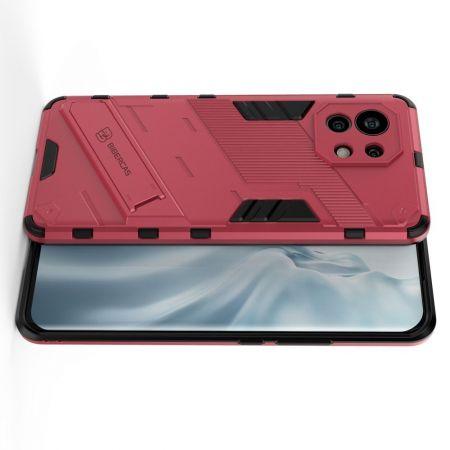 Защитный усиленный гибридный чехол противоударный с подставкой для Xiaomi Mi 11 Розовый