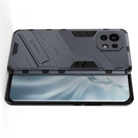 Защитный усиленный гибридный чехол противоударный с подставкой для Xiaomi Mi 11 Серый