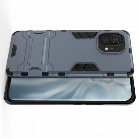 Защитный усиленный гибридный чехол противоударный с подставкой для Xiaomi Mi 11 Синий