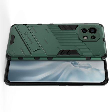 Защитный усиленный гибридный чехол противоударный с подставкой для Xiaomi Mi 11 Зеленый