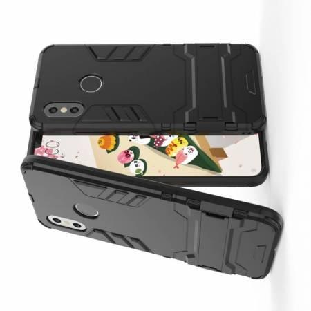 Защитный усиленный гибридный чехол противоударный с подставкой для Xiaomi Mi 8 Черный