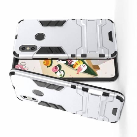 Защитный усиленный гибридный чехол противоударный с подставкой для Xiaomi Mi 8 Белый
