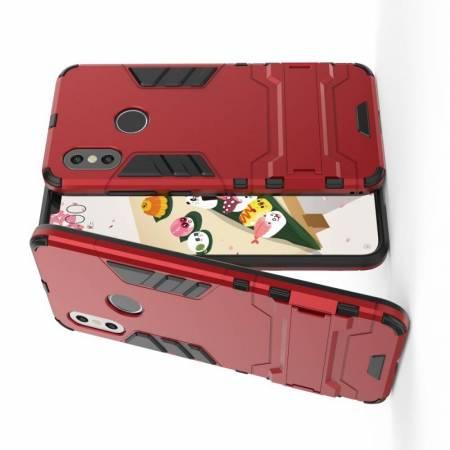Защитный усиленный гибридный чехол противоударный с подставкой для Xiaomi Mi 8 Красный
