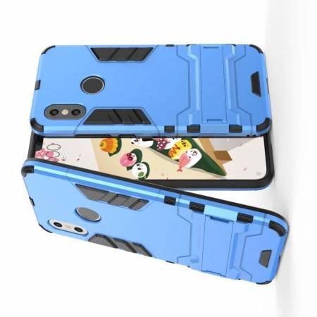 Защитный усиленный гибридный чехол противоударный с подставкой для Xiaomi Mi 8 Голубой