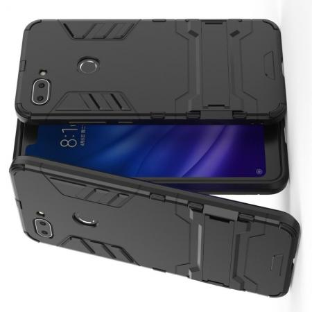 Защитный усиленный гибридный чехол противоударный с подставкой для Xiaomi Mi 8 Lite Черный