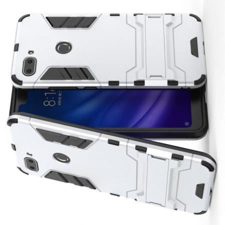 Защитный усиленный гибридный чехол противоударный с подставкой для Xiaomi Mi 8 Lite Серебряный