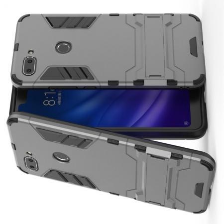 Защитный усиленный гибридный чехол противоударный с подставкой для Xiaomi Mi 8 Lite Серый