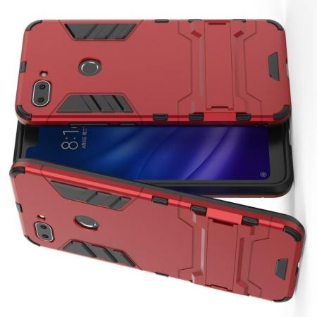 Защитный усиленный гибридный чехол противоударный с подставкой для Xiaomi Mi 8 Lite Красный