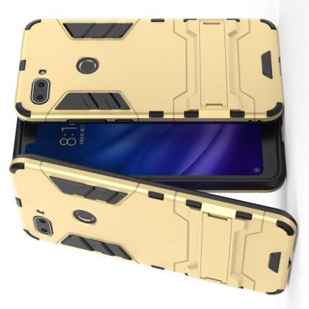 Защитный усиленный гибридный чехол противоударный с подставкой для Xiaomi Mi 8 Lite Золотой